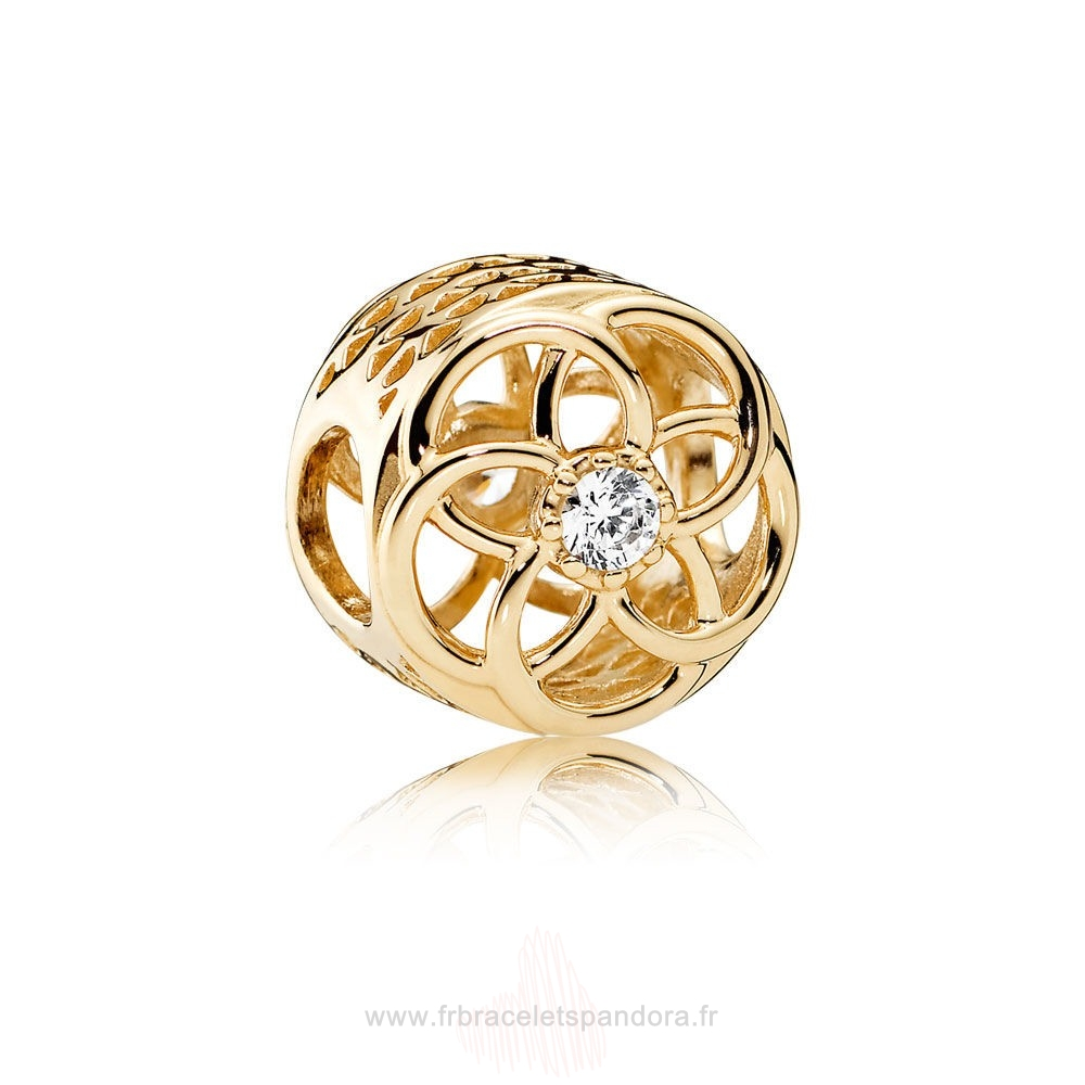 Grossiste Pandora Pandora Collections Charme Bloom Charme 14K Or Clear Cz Entier