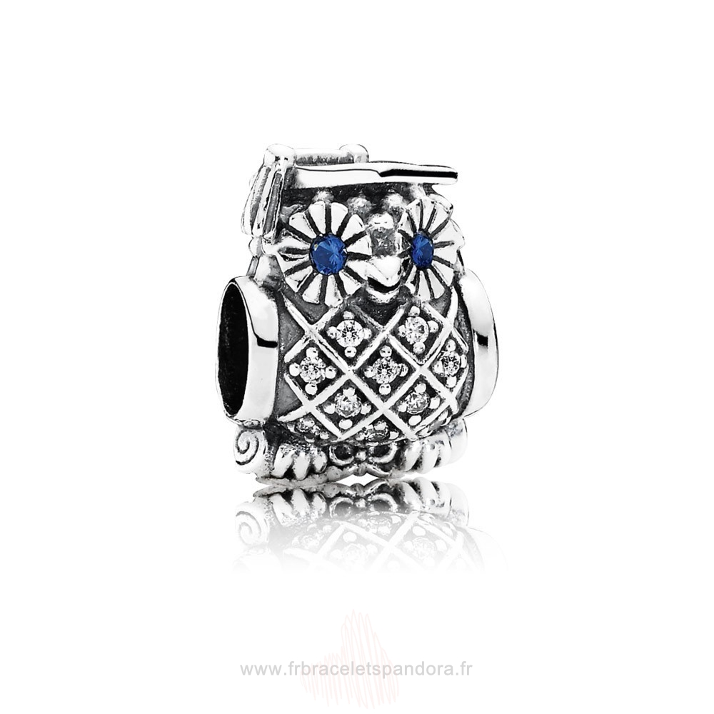 Grossiste Pandora Pandora Animaux Charms Diplome Owl Swiss Blue Crystal Clear Cz Entier