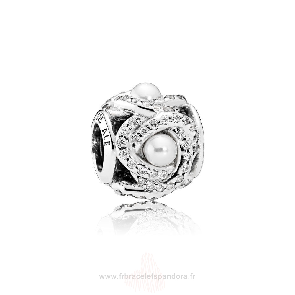 Grossiste Pandora Pandora Mariage Anniversaire Charms Luminous Amour Knot Blanc Crystal Pearl Clear Cz Entier