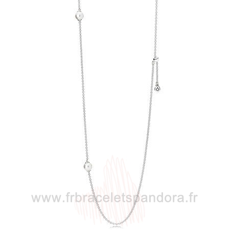 Grossiste Pandora Pandora Chaines Avec Pendentif Lumineux Dainty Droplets Collier Blanc Crystal Pearl Entier