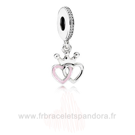 Grossiste Pandora Pandora Fairy Tale Charms Crowned Coeurs Dangle Charm Orchid Rose Enamel Clear Cz Entier