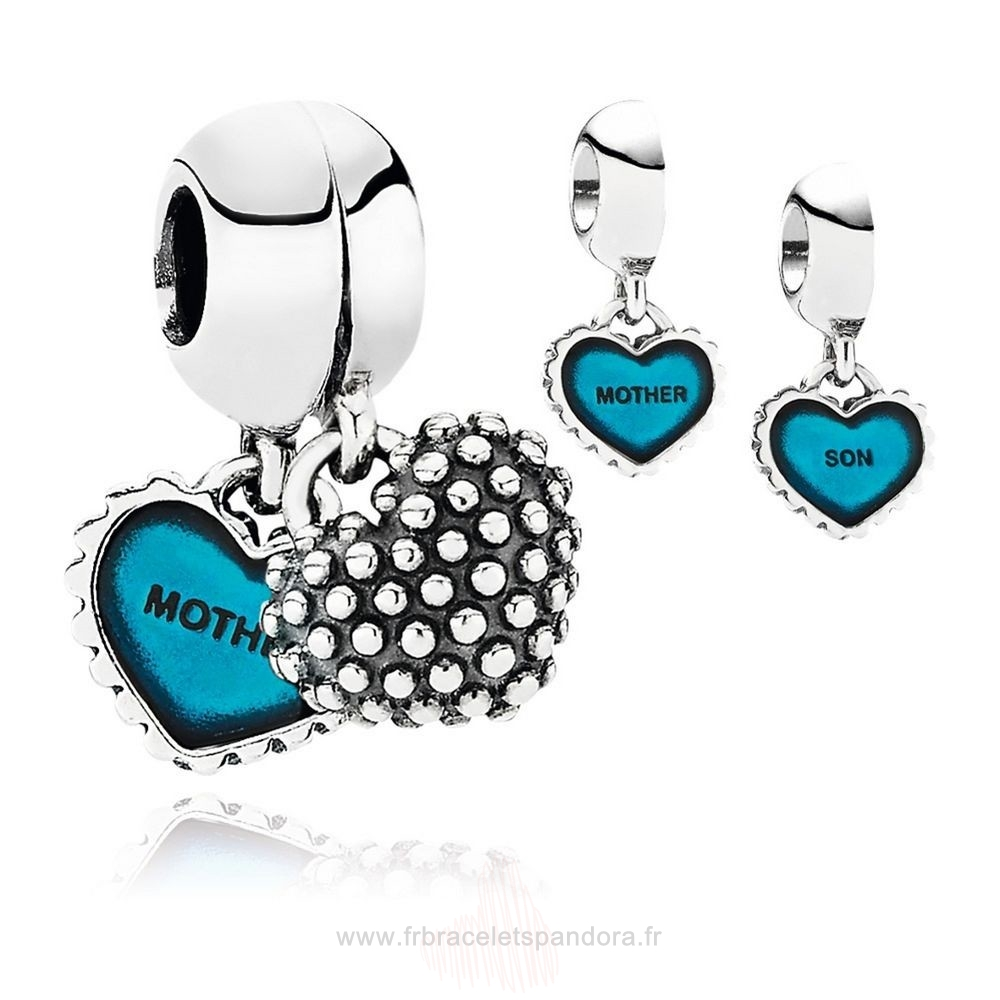 Grossiste Pandora Famille Piece Of Ma Heart Son Double Dangle Charm Turquoise Email Entier