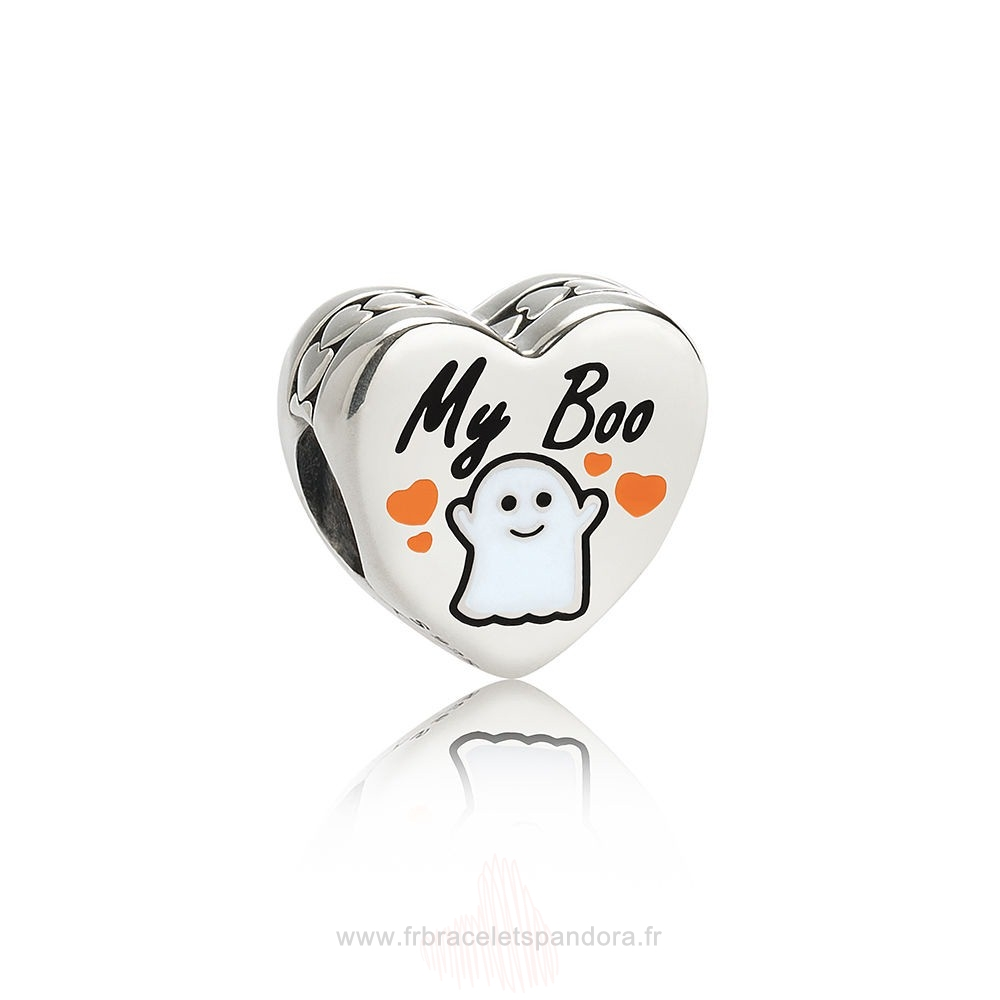 Grossiste Pandora Pandora Fetes Charms Halloween Ma Boo Charm Blanc Email Entier