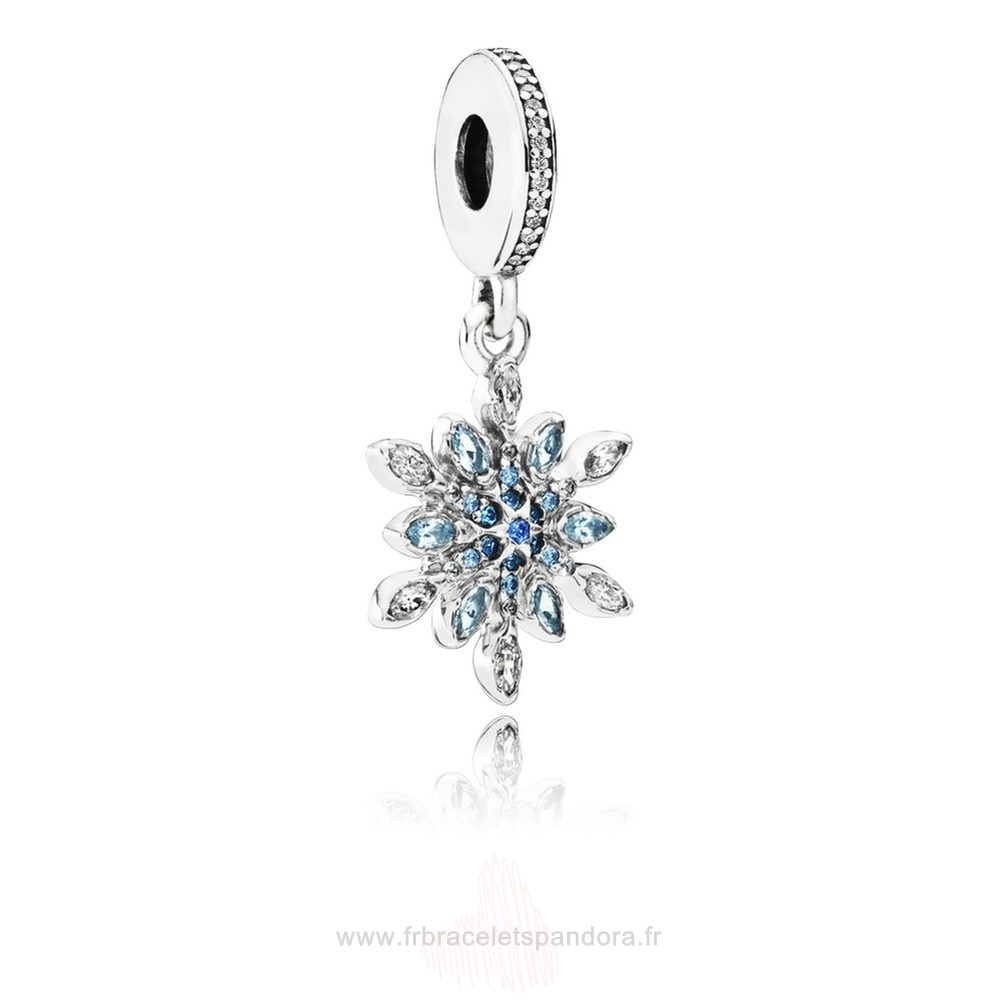 Grossiste Pandora Pandora Nature Charms Crystalized Snowflake Dangle Charm Blue Crystals Clear Cz Entier