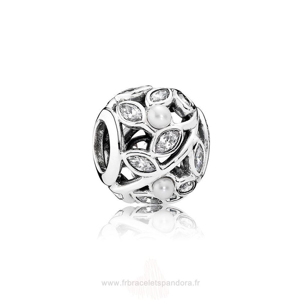 Grossiste Pandora Pandora Nature Charms Feuilles Lumineuses Blanc Pearl Clear Cz Entier